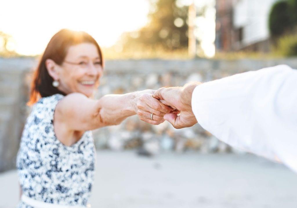 A senior couple enjoying the beach